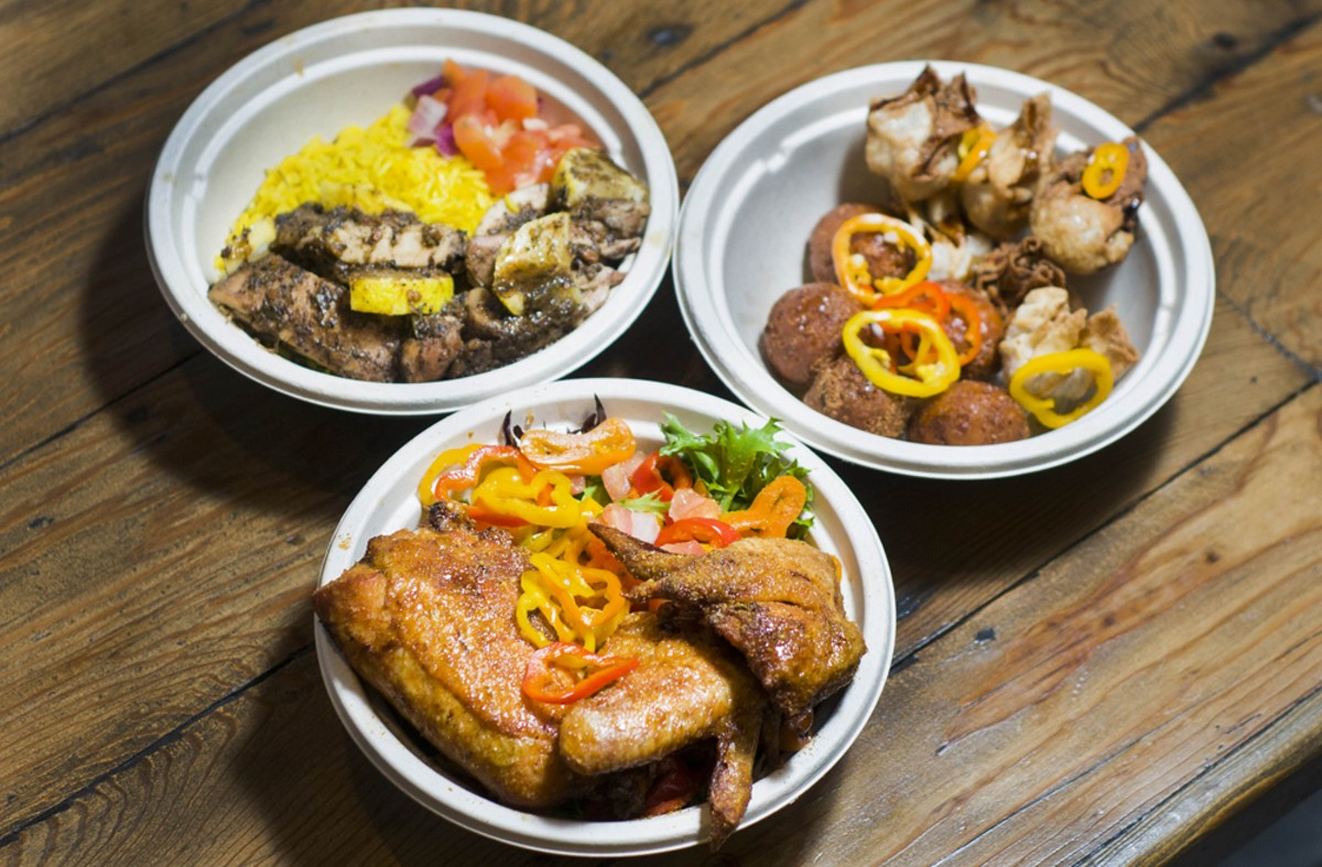 Suya fried chicken (bottoam), lemon jerk chicken (left), corn cakes and plantain wontons (right).