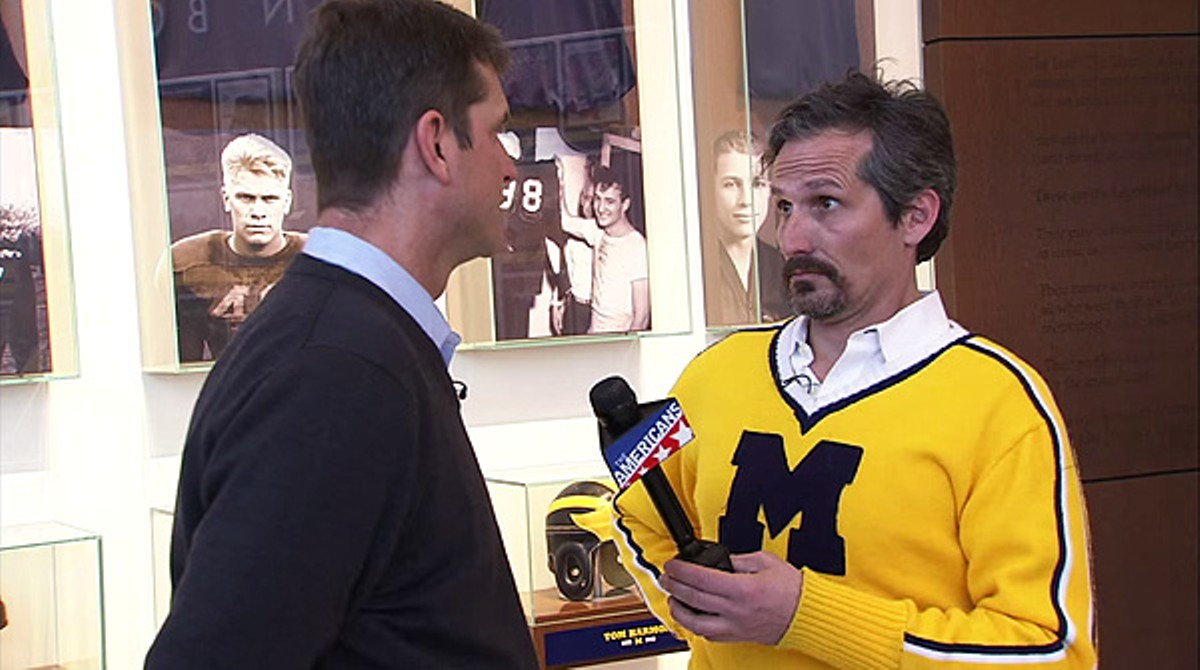 Charlie LeDuff quizzes U-M coach Jim Harbaugh in a recent clip for The Americans.