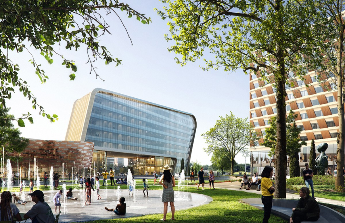 "A rendering of U-M's Center for Innovation, which is planned for downtown Detroit's ""fail jail"" site."