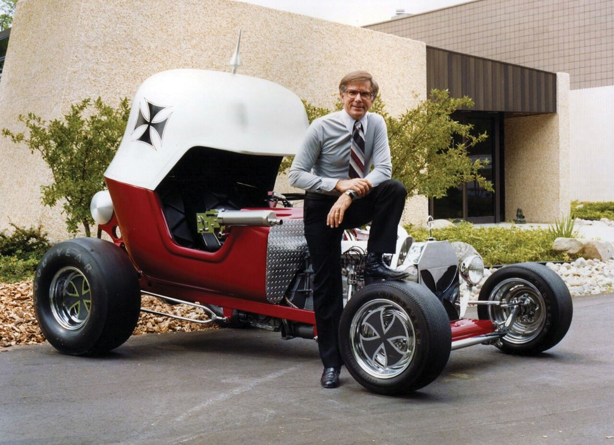 "Bob Larivee Sr. and his custom ""Red Baron"" in the '70s."