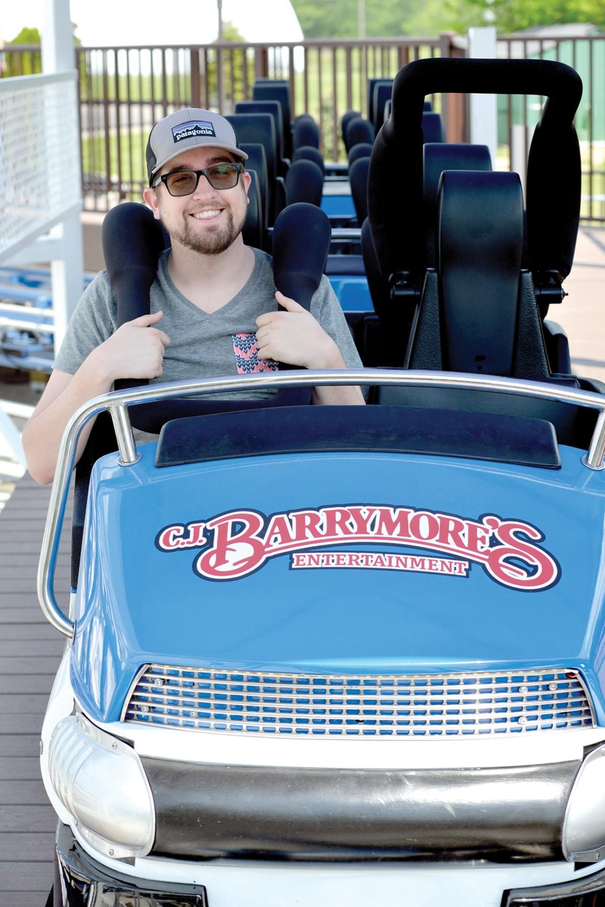 Metro Times senior intern Jack Roskopp, on the Loop roller coaster.