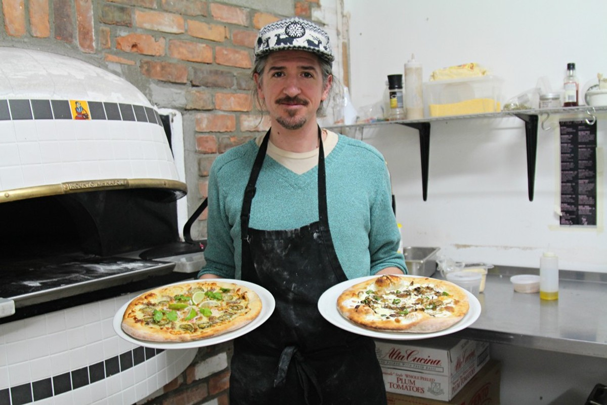 "Matt Ziolkowski, aka ""Pepe Z,"" shows off his creations ""West Vernor Taco Truck"" and the ""Brussel Street Hustle."""