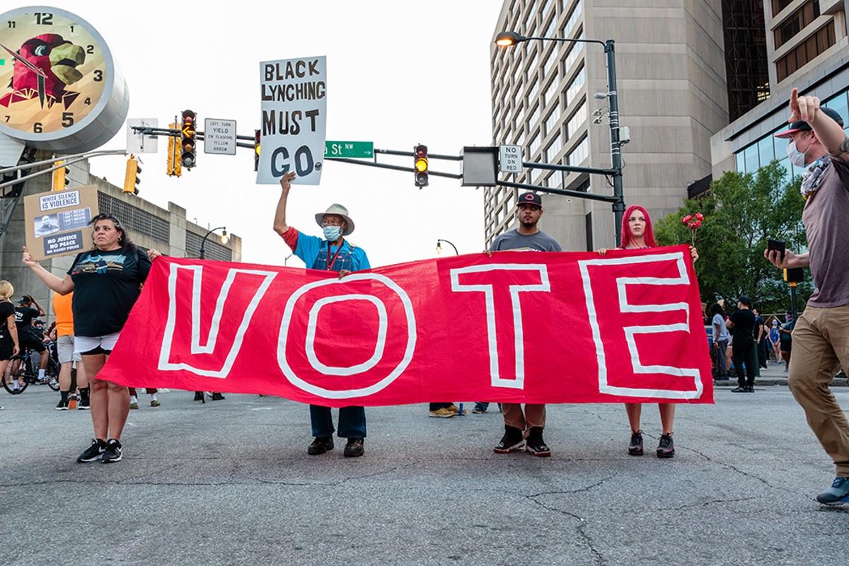 Protesters in Atlanta.