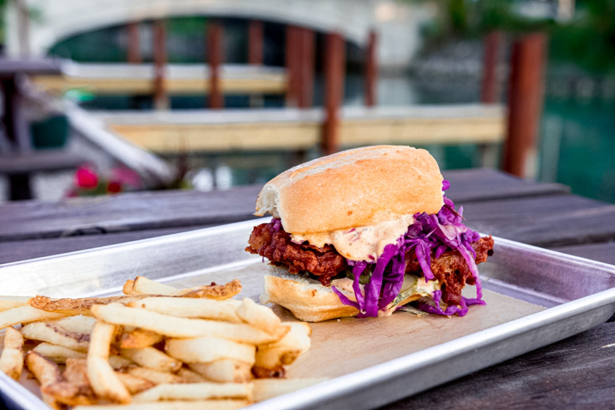The spicy fried fish sandwich is one of the most popular items at Coriander Kitchen and Farm.