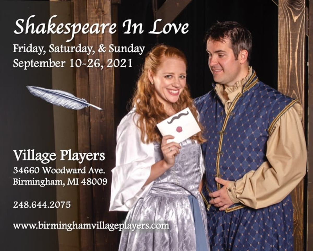 """""""Shakespeare in Love"""" Sept 10-26 at Birmingham Village Players"""