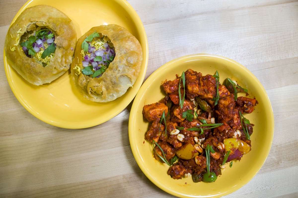 Ragda kachori and kung pao paneer.