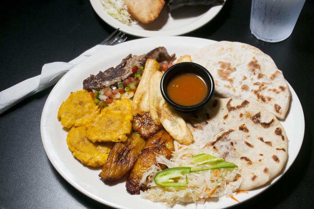 Pupusa, baleada, carne asada, tostones, platano maduro and tajadas.
