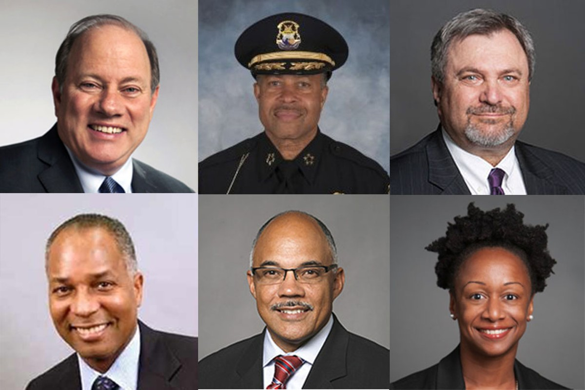 Top from left: Mayor Mike Duggan, police chief James Craig, group executive of operations David Manardo. Bottom from left: Chief financial officer John Hill, Detroit Water and Sewerage Department director Gary Brown, and Health Department executive director Joneigh Khaldun.
