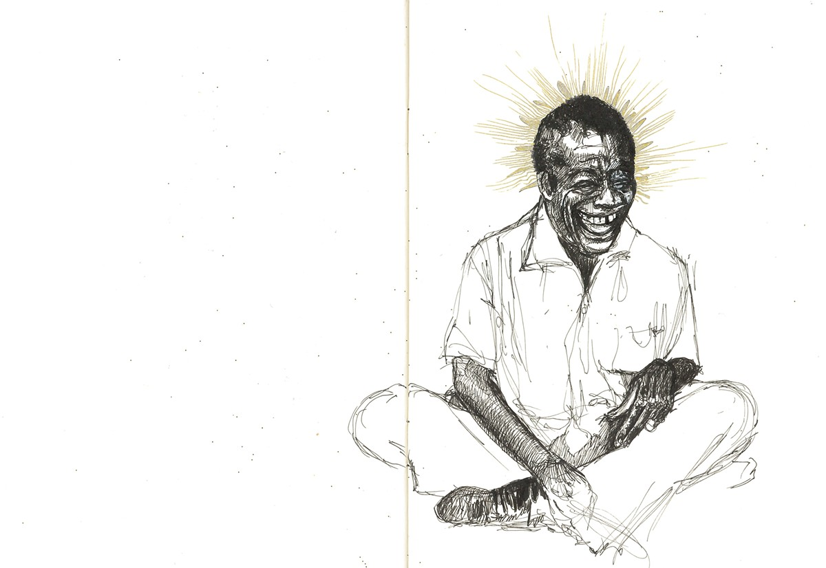 Drawings of James Baldwin from Sabrina Nelson's sketchbooks.