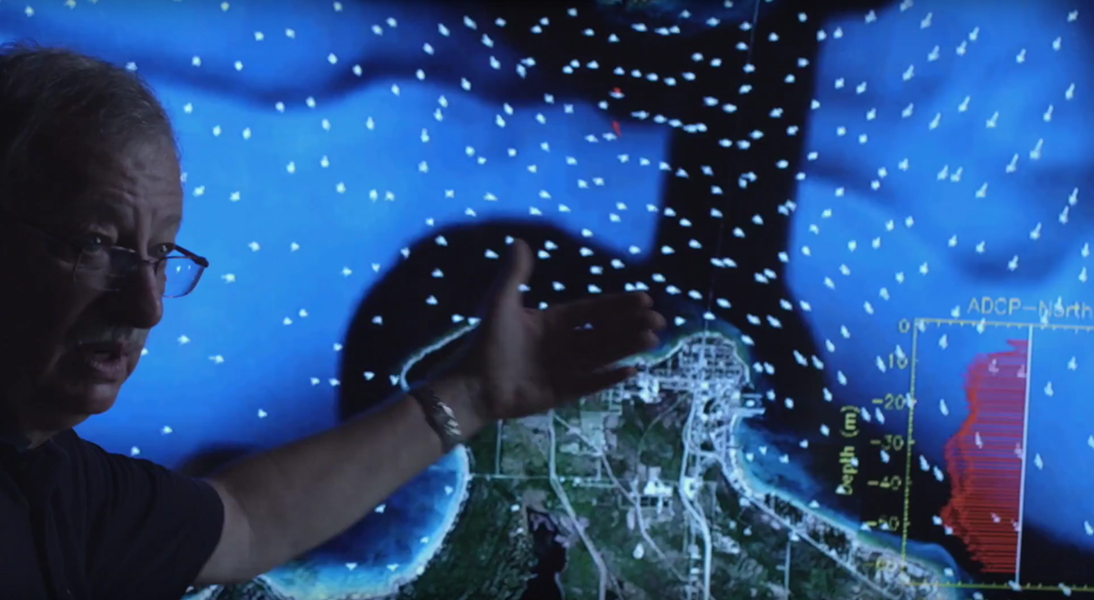 Oceanographer and hydrodynamics expert David Schwab shows a simulation of the currents in the Straits of Mackinac. - STILL FROM LINE 5.