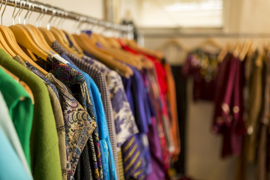 Racks of vintage at the Lowery Estate in Farmington, one of the vintage sellers to be featured at this weekend's Ferndale Vintage Fashion Market. - JACOB LEWKOW PHOTOGRAPHY