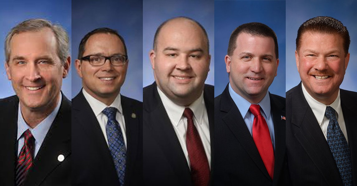 (From left) Michigan House Reps. McCready, Tedder, Webber, Yaroch, and Lucido. - HOUSE.MICHIGAN.GOV
