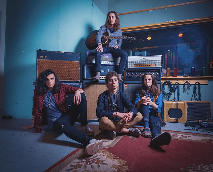 Greta Van Fleet, from left: Danny Wagner and brothers Jake, Josh, and Sam Kiszka. - DOUG COOMBE