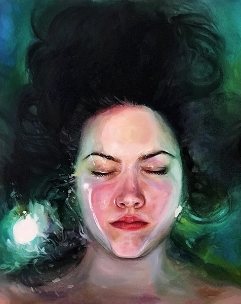 "JESSICA ASHBURN, PEACEFULLY DROWNING, OIL ON CANVAS, 36"" X 24"", 2018"
