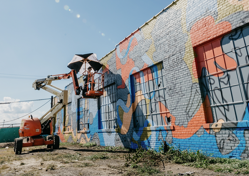 You can catch Murals in the Market artists hard at work through Thursday, Sept. 20. - JOSHUA HANFORD