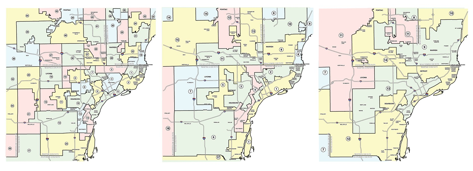 Gerrymandering at work — from left: Metro Detroit's State House Districts, State Senate Districts, and United States Congressional Districts. - SOURCE: MICHIGAN.GOV