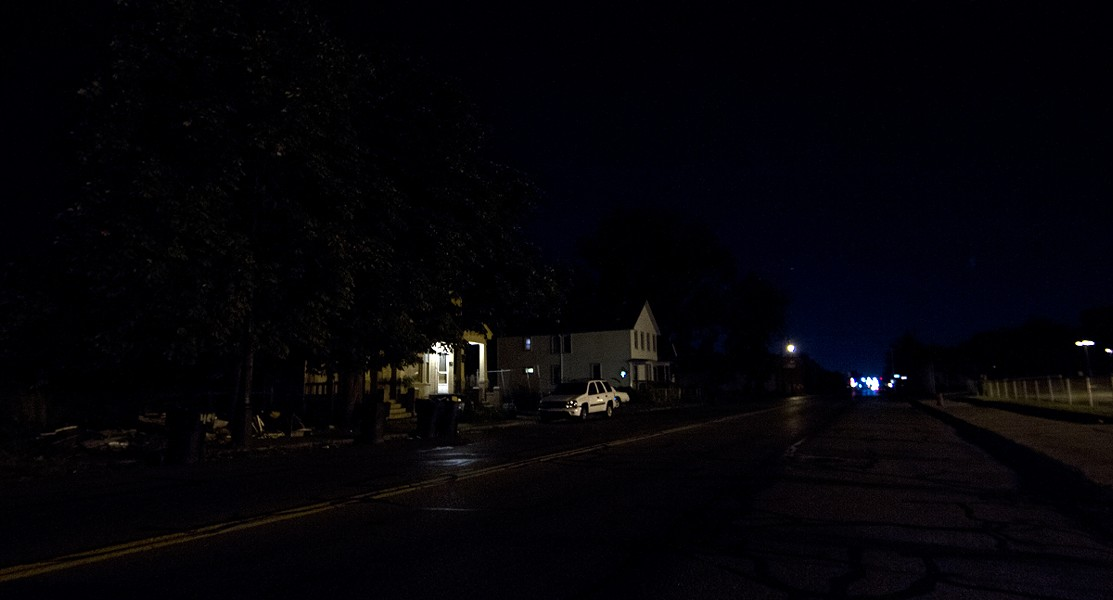 Mack Avenue before new lights were installed. - STEVE NEAVLING