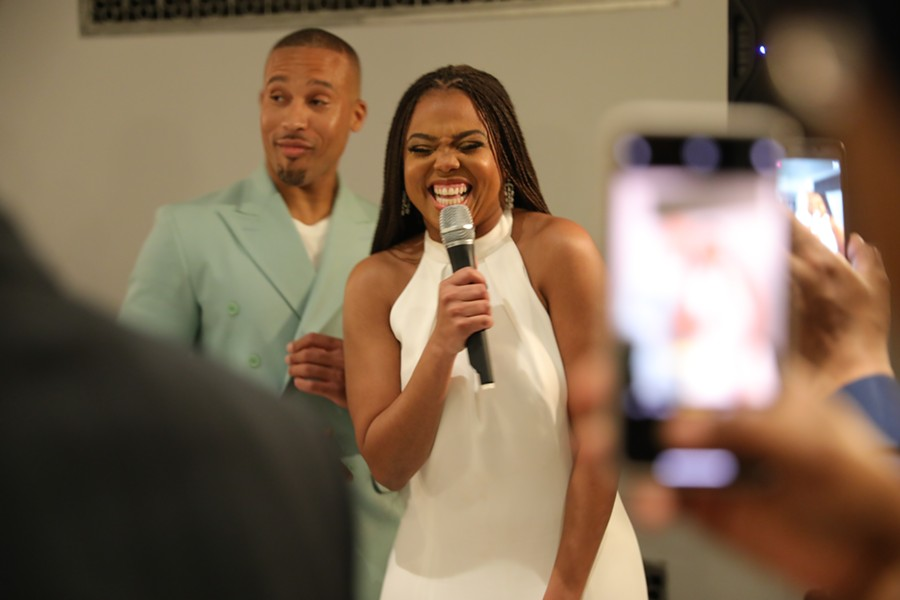 Jemele Hill, right, and Ian Wallace celebrated their engagement in Detroit. - FRANCHESCA LAMARRE