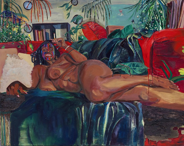 Red Lipstick Red Couch. - Gisela McDaniel, oil on canvas with found objects, 42 x 53 x 5 inches, 2019. - COURTESY OF GISELA MCDANIEL