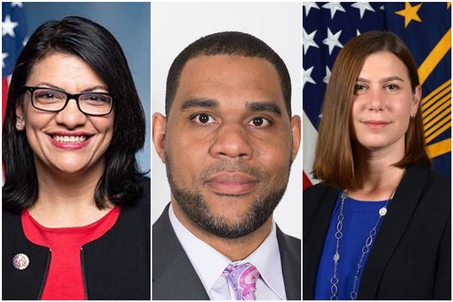 From left: U.S. Rep. Rashida Tlaib, CAIR-MI Executive Director Dawud Walid, and Michigan House Rep. Elissa Slotkin. - CONGRESS, CAIR, MICHIGAN HOUSE