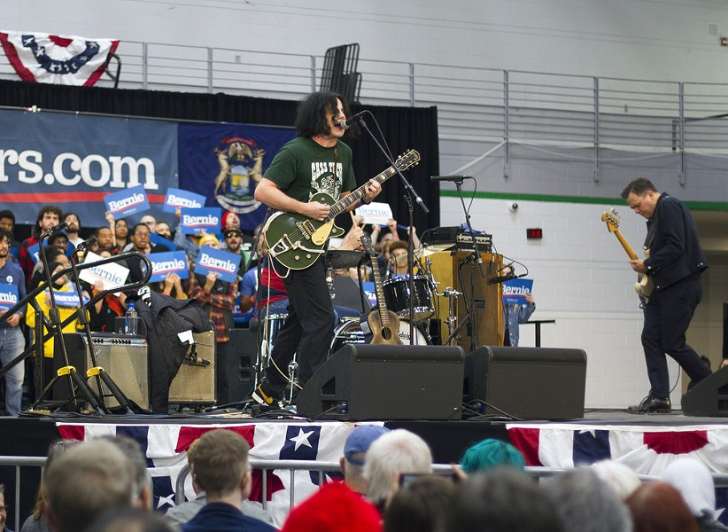 Jack White performs at his alma mater Cass Tech at a rally for Bernie Sanders. - STEVE NEAVLING