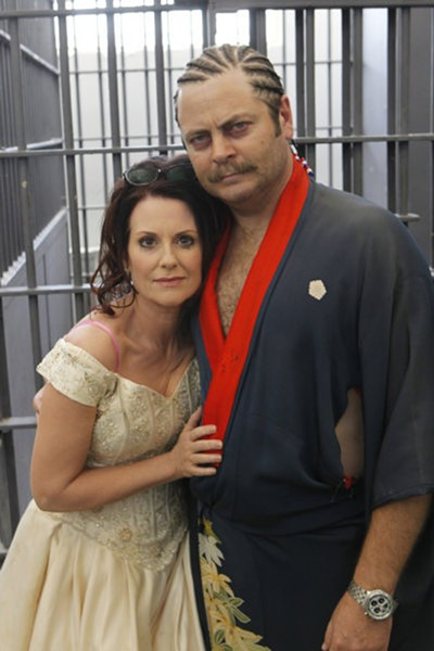 Megan Mullally and Offerman on the set of Parks and Recreation in 2011. - NBC