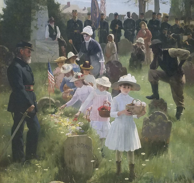 """""""Decoration Day,"""" 1885, Carl Hirschberg, 1854-1923. Oil on canvas. - COURTESY OF OAKLAND UNIVERSITY ART GALLERY"""