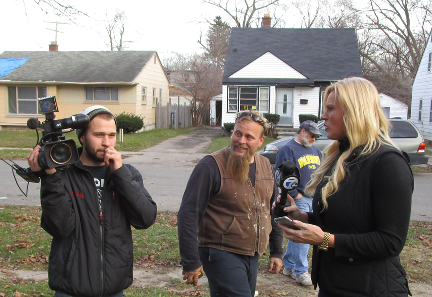 Pommerville (center) and Dahl (right) captured while shooting a segment in Detroit last month.