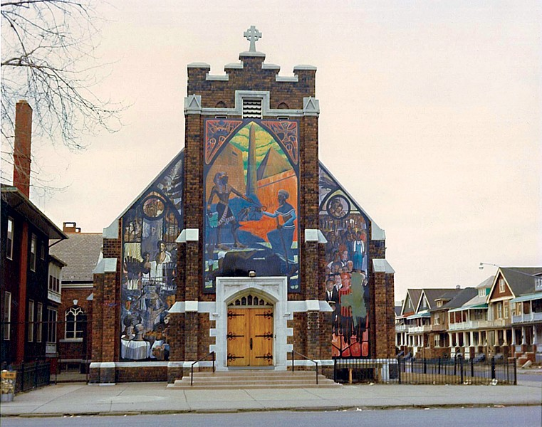 """Harriet Tubman Memorial Wall (Let My People Go)"""", St. Bernard's Catholic Church, Mack Avenue and Lillibridge Street, Bill Walker, Eugene Eda, others. (As it looked circa 1973.) - COURTESY OF THE CHICAGO PUBLIC ART GROUP"""