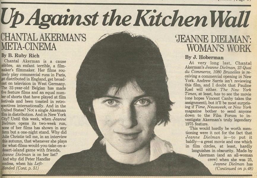 A CLIPPING OF J. HOBERMAN'S 1983 STORY ON CHANTAL AKERMAN'S 'JEANNE DIELMAN' FROM THE VILLAGE VOICE