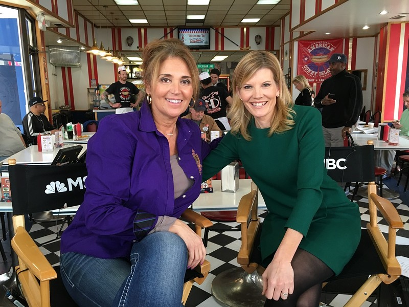 American Coney Island owner Grace Keros, left, with MSNBC host Kate Snow. - COURTESY OF GRACE KEROS