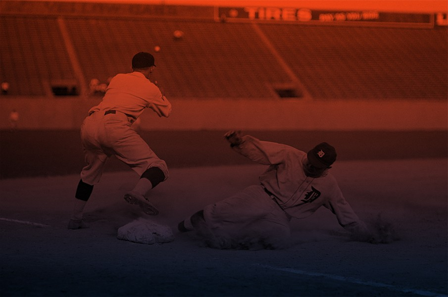 Cobb slides into third base for a triple against the Washington Senators at Griffith Stadium, Aug. 16, 1924. - LIBRARY OF CONGRESS, PUBLIC DOMAIN