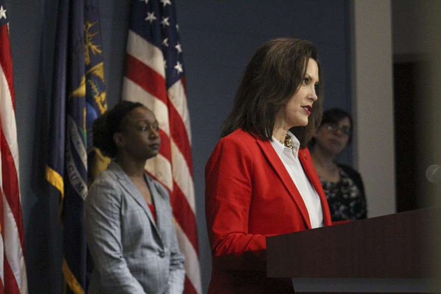 Dr. Joneigh Khaldun, left, and Gov. Gretchen Whitmer at a recent press conference. - STATE OF MICHIGAN