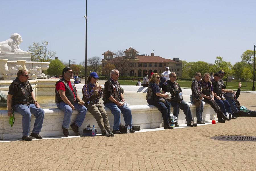 Bikers began gathering at the James Scott Memorial Fountain. - STEVE NEAVLING