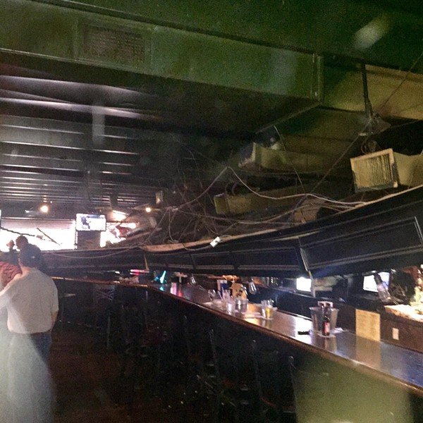 The bar area at Muldoon's in Rochester Hills after a ceiling collapse on Tuesday night. - PHOTO COURTESY OF JOHN NAGLICK