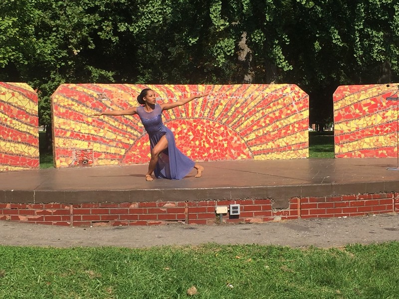 "The Detroit-Windsor Dance Academy's Amber Moore performs ""Crowned"" during an Open Streets event at Clark Park on Tuesday. - PHOTO BY JENNIFER MCDONNELL."
