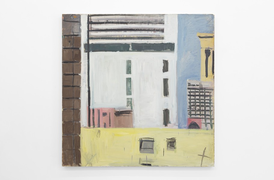 MARY ANN AITKEN, UNTITLED (VIEW FROM CARY BUILDING FIRE ESCAPE), CIRCA 1985 - 89, OIL ON MASONITE, 48 X 48 INCHES (122 X 122 CM). PHOTO COURTESY OF WHAT PIPELINE.