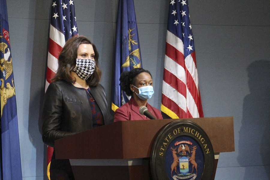 Gov. Gretchen Whitmer wears a face mask (unlike President Donald Trump). Get ready to see more of them. - STATE OF MICHIGAN