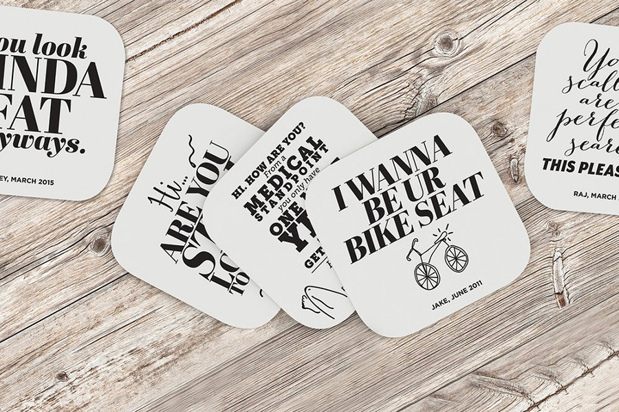 Sarey Ruden takes the weird messages she receives on online dating and turns them into coasters, left, and posters, above. - COURTESY PHOTOS.