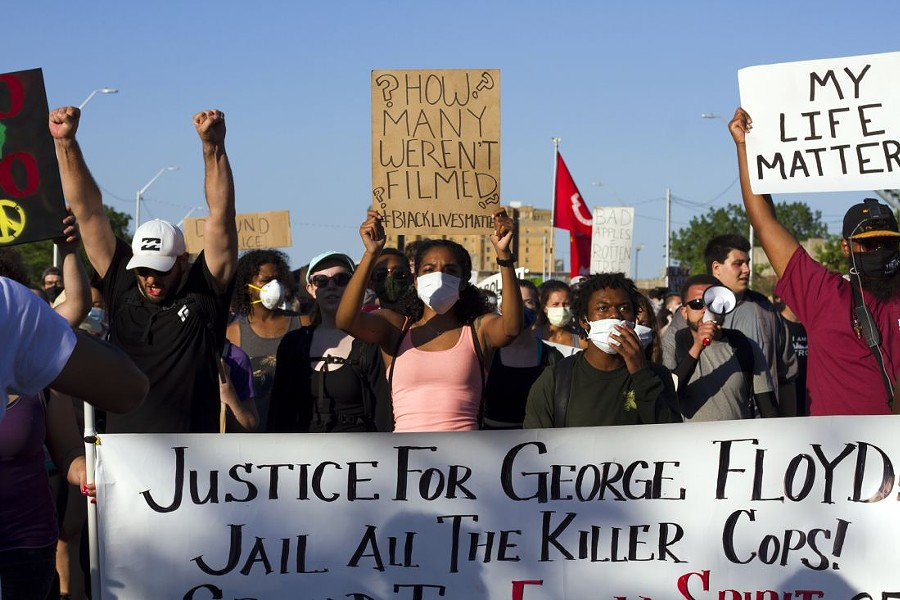 Protesters in Detroit demanding justice for George Floyd and others in the Black community who have died in the hands of police. - STEVE NEAVLING