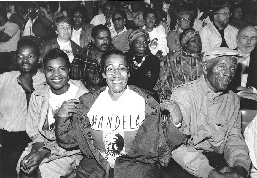 Solidarity house: Some of the 49,000 people who came to see Nelson Mandela at Tiger Stadium June 28, 1990. - COURTESY OF THE WALTER REUTHER LIBRARY