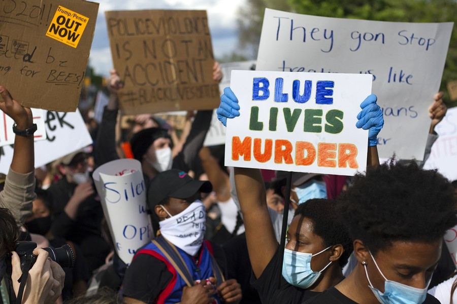 Protesters in Detroit rally against police brutality. - STEVE NEAVLING