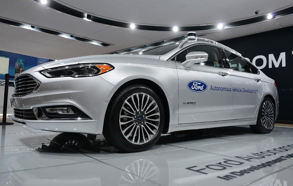 An autonomous Ford Fusion hybrid at NAIAS 2017. - COURTESY OF FORD MOTOR COMPANY