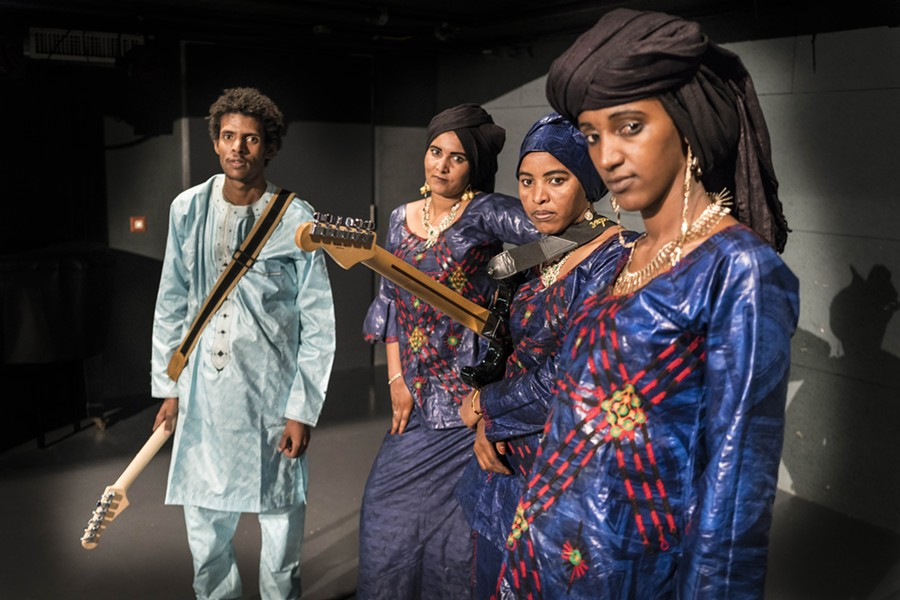 MDOU MOCTAR WITH FILLES DE ILLIGHADAD, SUBJECT OF FILMS AND MUSIC TO BE PLAYED AT TRINOSOPHES. COURTESY PHOTO.