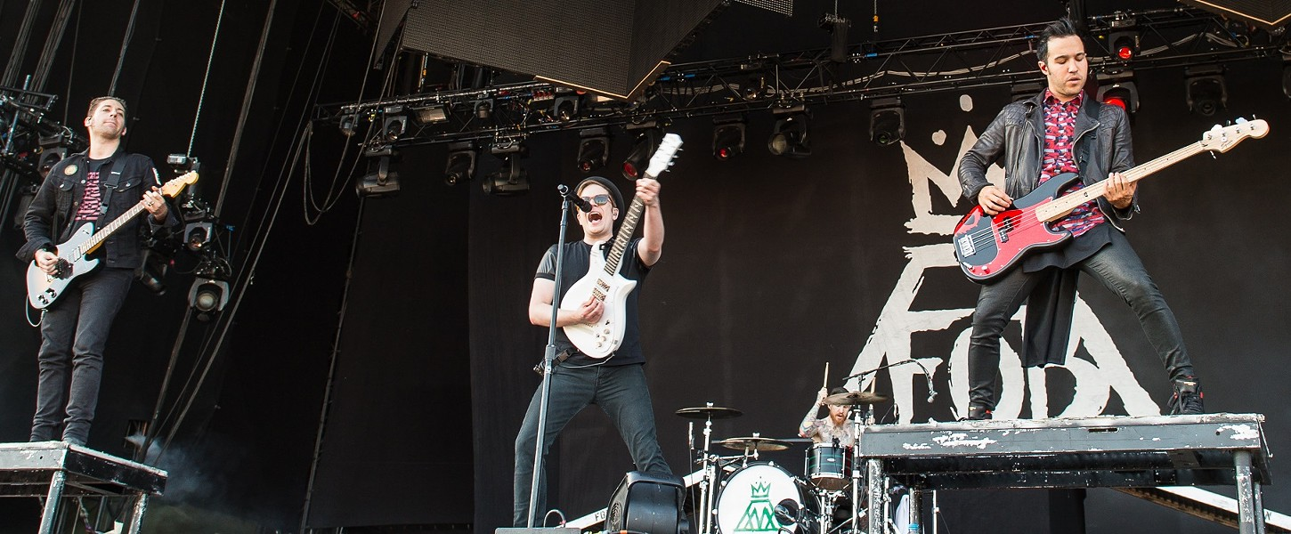 FALL OUT BOY PERFORMING LIVE IN 2014. PHOTO BY STEFAN BRENDING, COURTESY WIKIPEDIA.