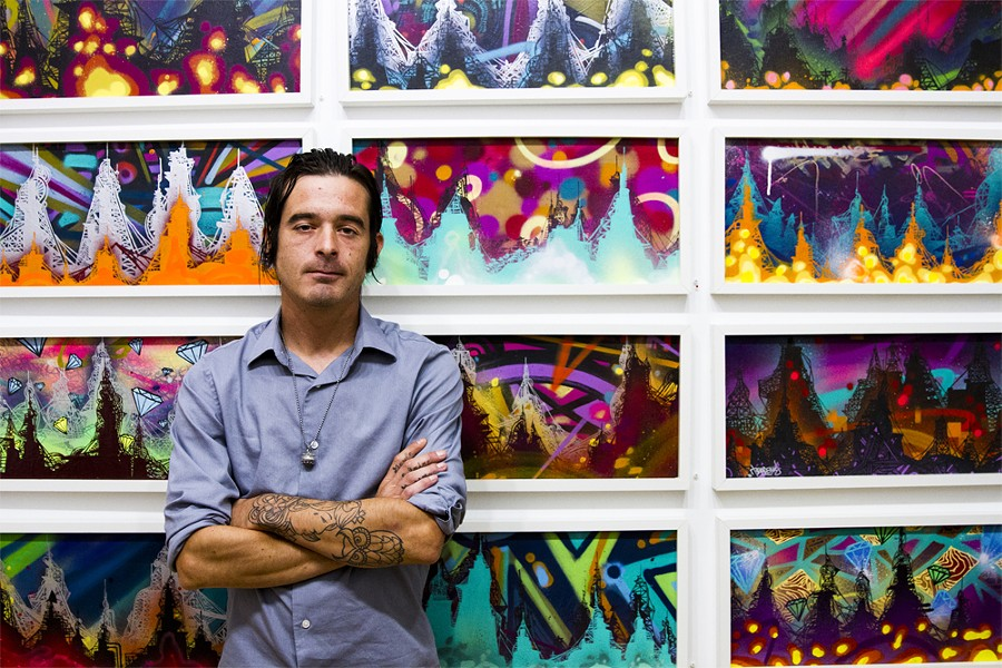 "Jordan ""Tead"" Vaughn at an exhibition of his work at Detroit's Inner State Gallery, 2013. - SAL RODRIGUEZ"