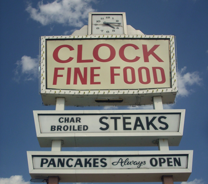 The former Clock's sign. - KATHERINE OF CHICAGO ON FLICKR