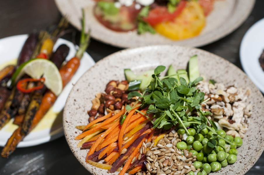 Crunch Crunch salad and charred carrots. - TOM PERKINS