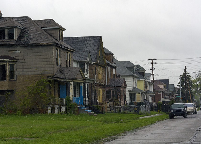 A row of dilapidated houses at Crane and Charlevoix on Detroit's east side. - STEVE NEAVLING