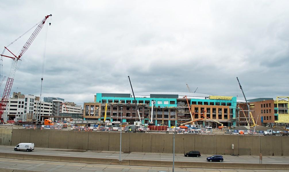 Construction on Little Caesars Arena, 2017. - COURTESY PHOTO